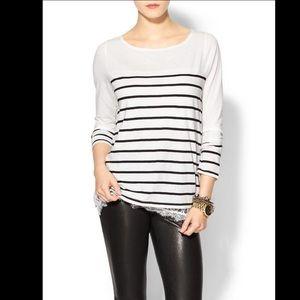 Hive & Honey - Black White Stripe Lace Long Sleeve